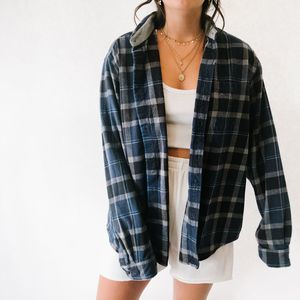Vintage Oversized Button Up Flannel Blue